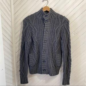 Chunky Knit Wool Fisherman Cardigan